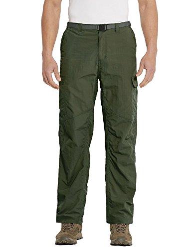 Baleaf Men's Quick Dry UPF 50+ Cargo Camo Pants Army Green 34W by Baleaf (Image #1)