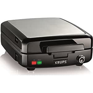 KRUPS, 4-Slice Belgian Waffle Maker With Removable Plates, Stainless