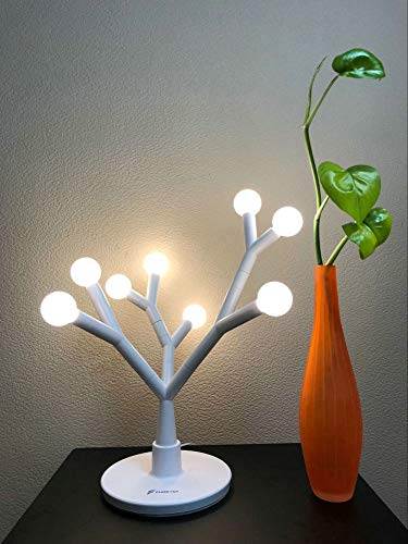 LED Table Lamp Decorative Tree Branch, Fugetek, 750 Lumen, Modern Design, Interchangeable Branches, 8 Warm White Bulbs, Multi Use for Home/Office