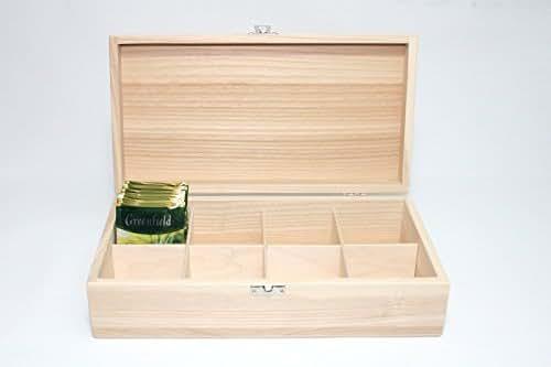 Amazon Com 8 Compartment Tea Box Ash Wood Box Wooden