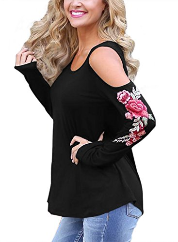 Dokotoo Womens Plus Size Fall Amazon Cotton Ladies Casual Loose Long Sleeve Floral Print Under 20 Tunics Blouses Tops T Shirt Black XX-Large