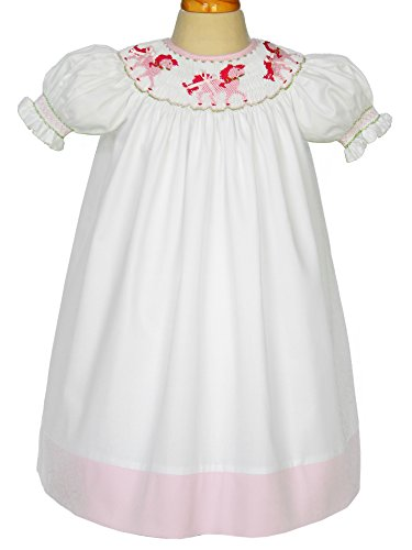 Carouselwear White Hand Smocked Pink Carousel Horses Girls Bishop Dress