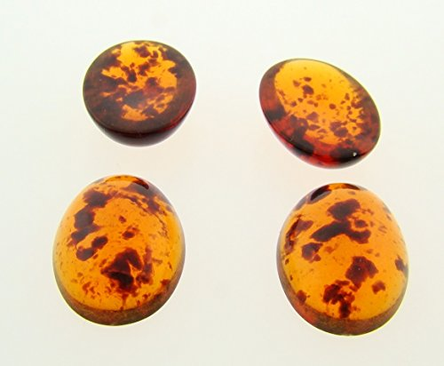 Tortoise Amber Shiny Glass (18x13mm. TORTOISE AMBER SPECKLE SHINY OVAL CABOCHONS - Lot of 48)