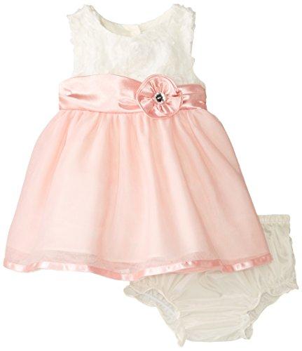 Rare Editions Baby Baby-Girls Newborn Ivory Rose Social Dress, Ivory/Rose, 9 Months