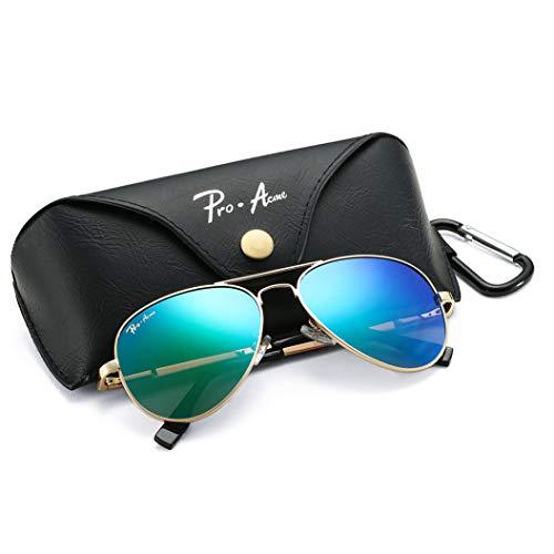Pro Acme Polarized Aviator Sunglasses for Men and Women 100% UV Protection, 58mm (Gold Frame/Green Mirrored Lens) ()