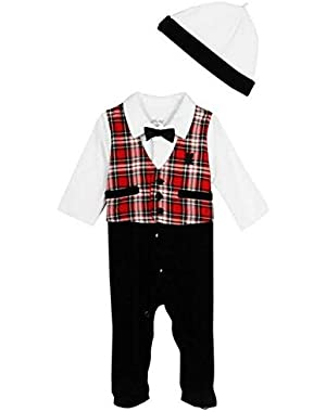 Baby-Boys Formal Holiday Tartan Footie and Hat Set