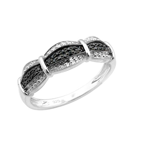 Brand New Round Brilliant Cut Black Diamond Stylist Ring, 10k White Gold, Size 10 by Prism Jewel