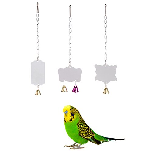 Parrot toys ,NNDA CO 1 Pc Pet Birds Parrots Single Mirror Toys Accessories With Colorful Bell Hanging Cage (Wubba Pig)