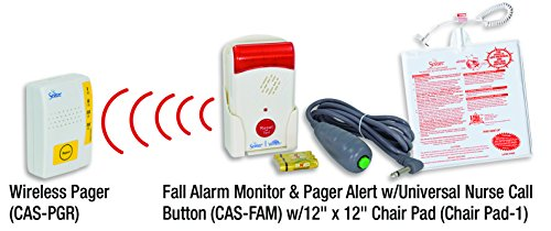 - Secure Caregiver Alert System Chair Exit Alarm Set for Fall Prevention - Wireless Caregiver Pager, Patient Alarm Monitor with Nurse Call Button, and 12 x 12 inch Sensor Pad for Chairs or Wheelchairs