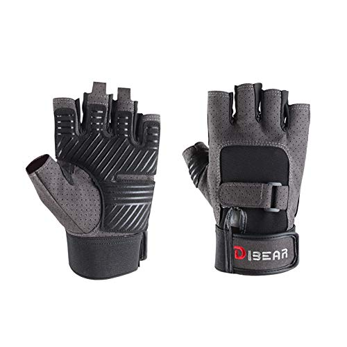 DIBEAR Workout Gloves for Women and Men, Breathable and Anti-Slip Half Finger Sports Gloves, Training Gloves with Wrist Support for Fitness Exercise Weight Lifting(Gray, XL)