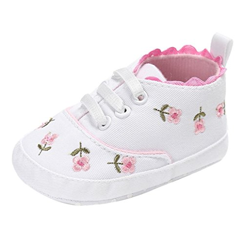 Soles Canvas (Voberry Baby Girls Soft Sole Floral Canvas Sneakers Shoes (6~12 Month, White))