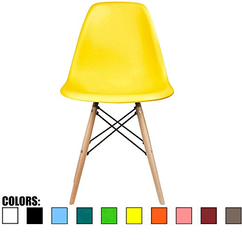 2xhome Yellow - DSW Molded Plastic Shell Bedroom Dining Side Ray Chair with Brown Wood Eiffel Dowel-Legs Base Nature Legs