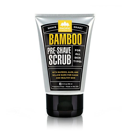 Pacific Shaving Company Bamboo Pre-Shave Scrub - With Bamboo, Aloe & Willow Bark, Exfoliates, Soothes & Moisturizes Skin, Helps Control Blemishes, Fragrance-Free, All Skin Types, Made in USA, 3.4 oz