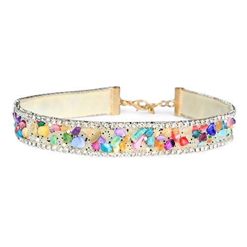 (White Rhinestone Collar Choker Necklace Multicolored Gemstone Cute Choker Unique Jewelry for Women)