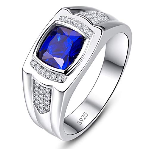 BONLAVIE Promise Ring for He Pure Sterling Silver Princess Cut Created Sapphire Round Cut Cz Size 11