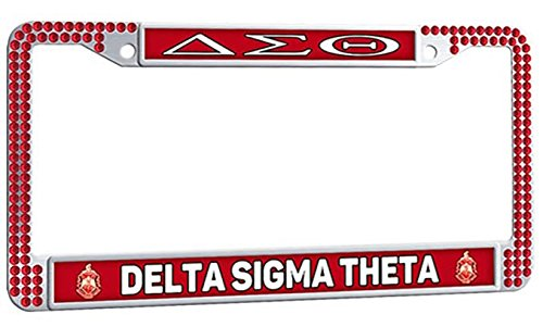 (DELTA SIGMA THETA Cute Auto License Plate Frame, Sorority Logo Personalized Car License Plate Frame, Framespolish Metal Popular License Plate Frame with Bolts Caps - Red)