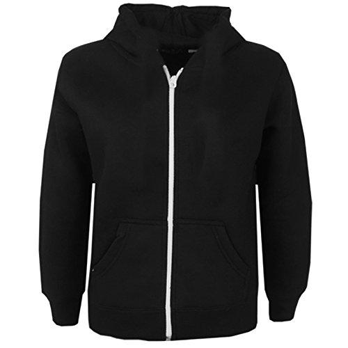 Kids Girls & Boys Plain Fleece Hoodie Zip Up Style Zipper Jacket Age 5-13 Years