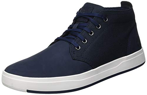 - Timberland Mens Davis Square Mixed-Media Chukka Navy Nubuck Sneaker - 10