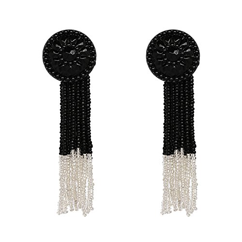 KissYan Bohemian Beaded Tassel Earrings Teardrop Long Fringe Multi Color Drop Statement Earrings Handmade Jewelry For Women Girls
