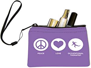 Rikki Knight Peace Love Occupational Therapist Violet Color Design Keys Coins Cards Cosmetic Mini Clutch Wristlet