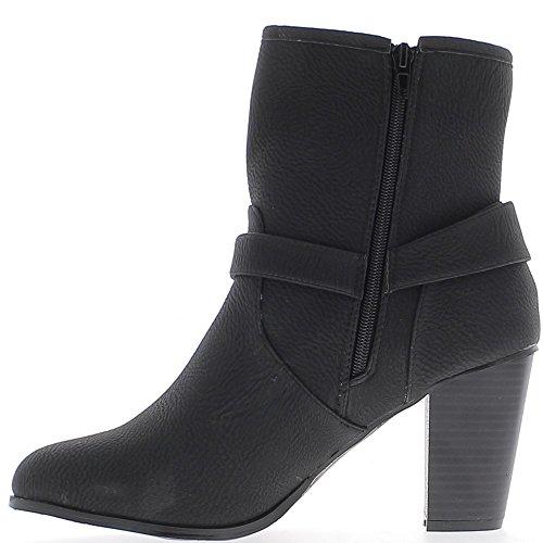 Stivali alla caviglia foderato taglia grande nero tacco 9cm con flangia