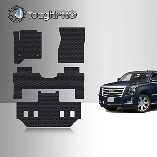 TOUGHPRO Floor Mats Set Compatible with Cadillac Escalade ESV - 2nd Row Bucket Seating - All Weather - Heavy Duty - Black Rubber - 2015, 2016, 2017, 2018, 2019, 2020 (1st + 2nd + 3rd Row)