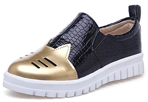 IDIFU Women's Stylish Closed Round Toe Slip On Loafers Low Top Flat Platform Sneakers Gold 11 B(M) US Review