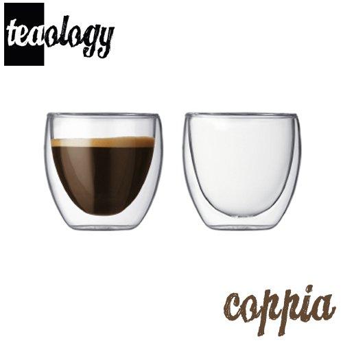 Teaology Coppia Double Wall Borosilicate Glass Tea & Coffee Cup - Set of 2 - 4 oz. Glasses