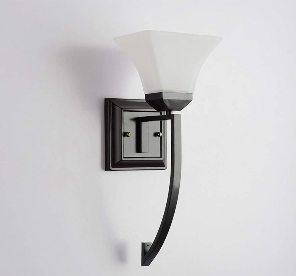 Schwarz Oudan Eisen Glas Wand Lampe Nachttischlampe Badezimmer Spiegel Spiegel Eisen Einfach Die Wandleuchte Garten (Farbe  Gold) (Farbe   Schwarz)