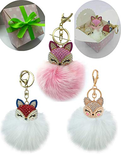 Lyhouse Three Pack Real Fox Fur Ball with Artificial Fox Head Inlay Pearl Rhinestone Key Chain for Womens Bag or Car Pendant or Cellphone ()
