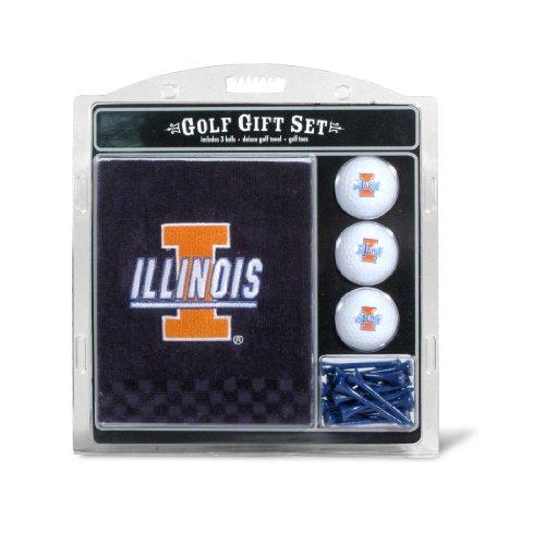 Team Golf NCAA Illinois Fighting Illini Gift Set Embroidered Golf Towel, 3 Golf Balls, and 14 Golf Tees 2-3/4