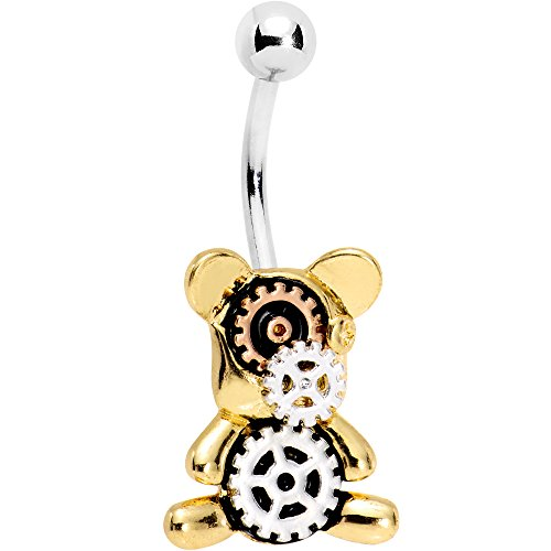 Body Candy Stainless Steel Sun Kissed Steampunk Gears Teddy Bear Belly Ring Bear Belly Ring