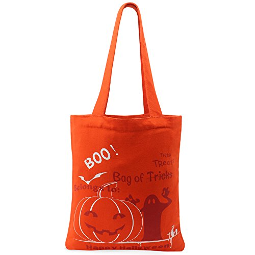 Halloween Theme Tote Bag, Trick or Treat Basket, Bucket for Kids Party, Daily Use, Carry Candy and Gifts (orange with (Halloween Scary Tricks)