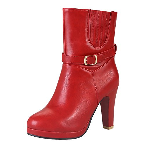 Latasa Womens Buckle And Strap High Heels Short Dress Boots Red 7UsXl