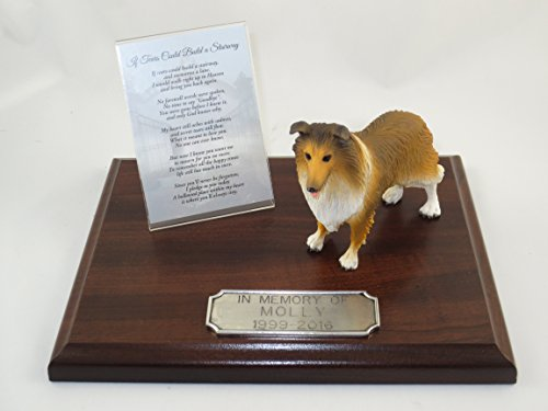 Sable Collie Figurine (Beautiful Walnut Finished Personalized Memorial Plaque With Sable Collie Figurine)