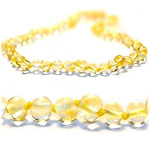 The Art of Cure Original Certified Premium Baltic Amber Teething Necklace (Lemon) - 12.5 inches