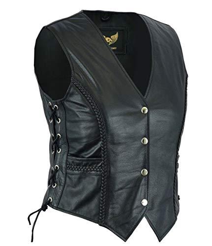 Dames lederen gevlochten biker stijl gilet voor casual en mode mouwloos jas / vest (L) (12)
