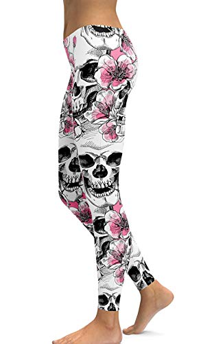 sissycos Sugar Skull Printing Stretchy Leggings Skinny Pants for Yoga & Running (Medium, Light Pink) ()