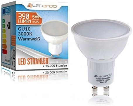 A+ LED Spot 5 Watt 35W Ersatz warmweiss 5W 120/° Abstrahlwinkel IP44 LED Einbaustrahler Set Silber geb/ürstet mit LED GU10 Markenstrahler von LEDANDO Einbauleuchte eckig Feuchtraum // Badezimmer
