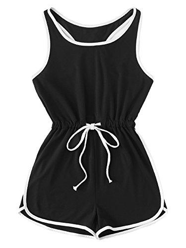Romwe Womens Summer Casual Sleeveless Drawstring Waist Tank Tops Ringer Short Romper Jumpsuit Outfits