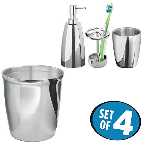 mDesign Bath Accessory Set, Soap Dispenser Pump, Toothbrush Holder, Tumbler Cup, Wastebasket Trash Can - Set of 4, Polished Stainless Steel (Polished Toothbrush Holder)