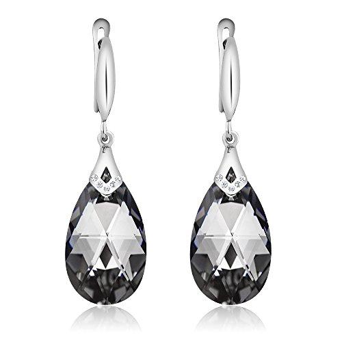 Nirano Collection Black Teardrop Earrings & CZ Created with Swarovski Crystals Photo #2