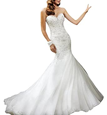 D w u vintage mermaid long wedding dresses bridal gowns for Amazon cheap wedding dresses