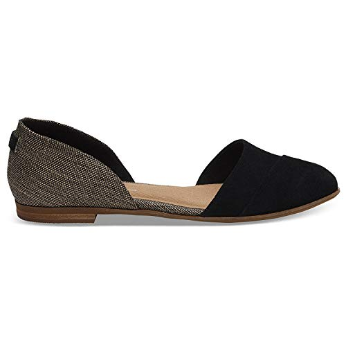 (TOMS Black Suede Metallic Woven Women's Jutti D'Orsay Flats Black 10012457 8.5)