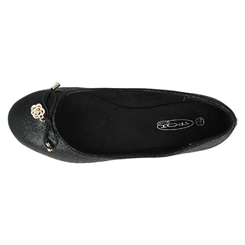 F80010 On Ballet Ladies Black Flats Spot wUzvvq