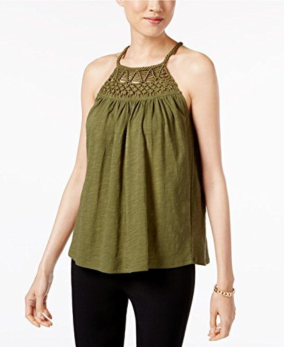 (Cable & Gauge Cotton Halter Top (Winter Moss/Green, Large))