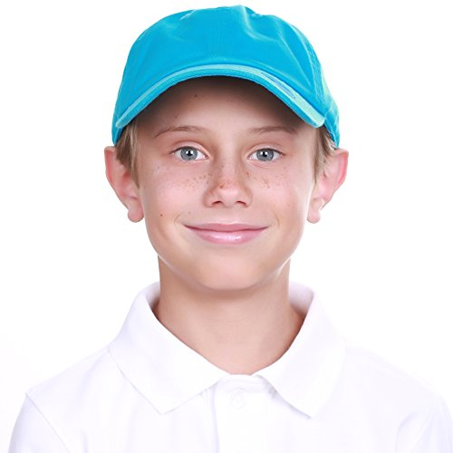 - KBC-13LOW AQU (6-9) Kids Boys Girls Hats Washed Low Profile Cotton and Denim Plain Baseball Cap Hat Unisex Headwear