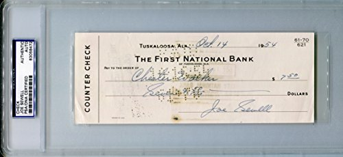 Paradise Counter (JOE SEWELL Signed 1954 The First National Bank of Tuskaloosa, Alabama Personal Counter Check PSA/DNA Slabbed (d.1990) Cleveland Indians New York Yankees 1977 Hall of Fame Member)