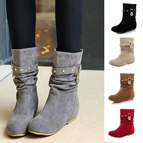 Alikeey Flock Sport Bottes Plat Romana Compenses Et Rouge Chaussures Running Femmes Hiver Garder Casual Mat Rivets Automne Chaud Sneakers Au 1a0qrv1OF