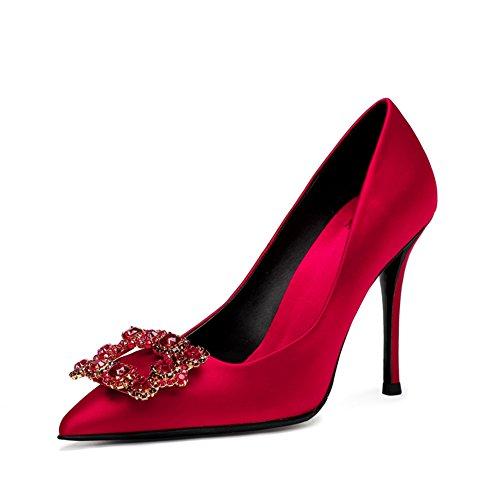 De Couleur Chaussures Printemps Mariage Mariée 10cm Taille EU36 Cristal Rouge 2018 De Talons Chaussures Pointu CN36 Sexy 0cm Escarpin en MUMA UK4 Hauts a8q7aC